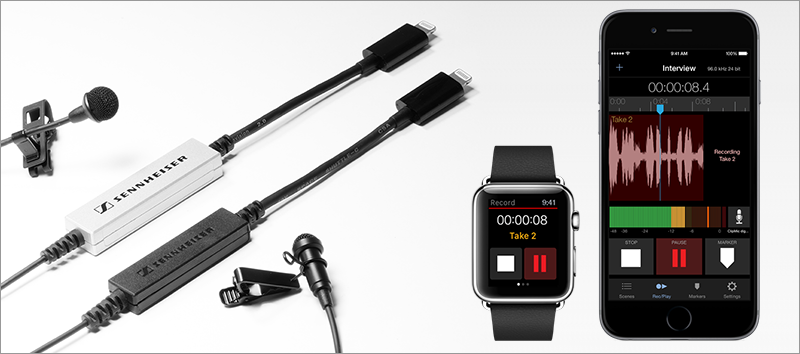 Sennheiser MKE 2 digital, ClipMic digital, MetaRecorder App for Apple Watch and iPhone