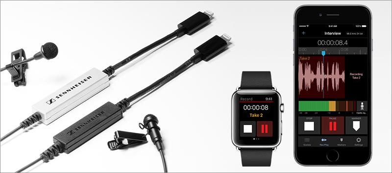 Sennheiser MKE 2 digital, ClipMic digital, MetaRecorder App for Apple Watch and iPhone