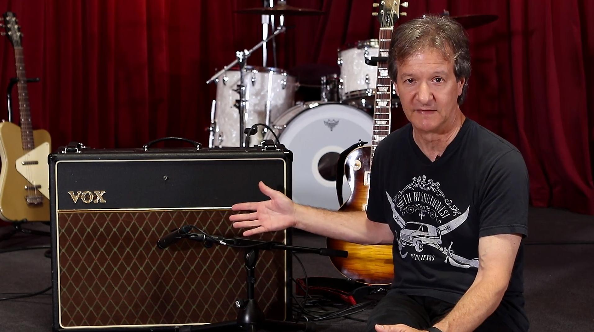 Bob Clearmountain showing mic placement using a Shure SM57