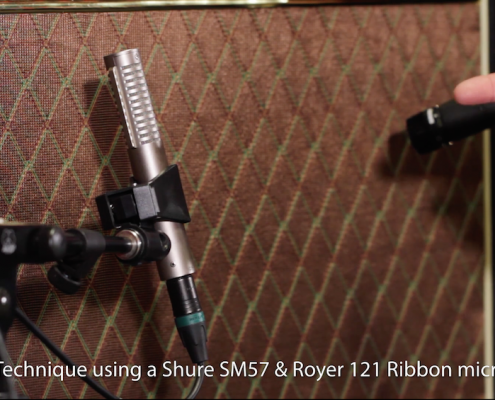 two microphones on a guitar amp - Royer 121 and Shure SM57