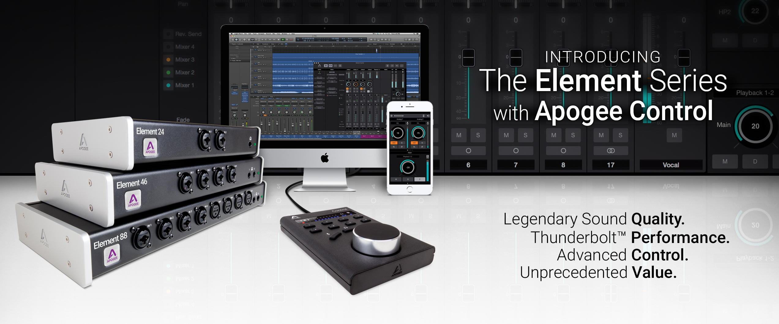 Element- סדרת ממשקי אודיו Thunderbolt למק מ-Apogee