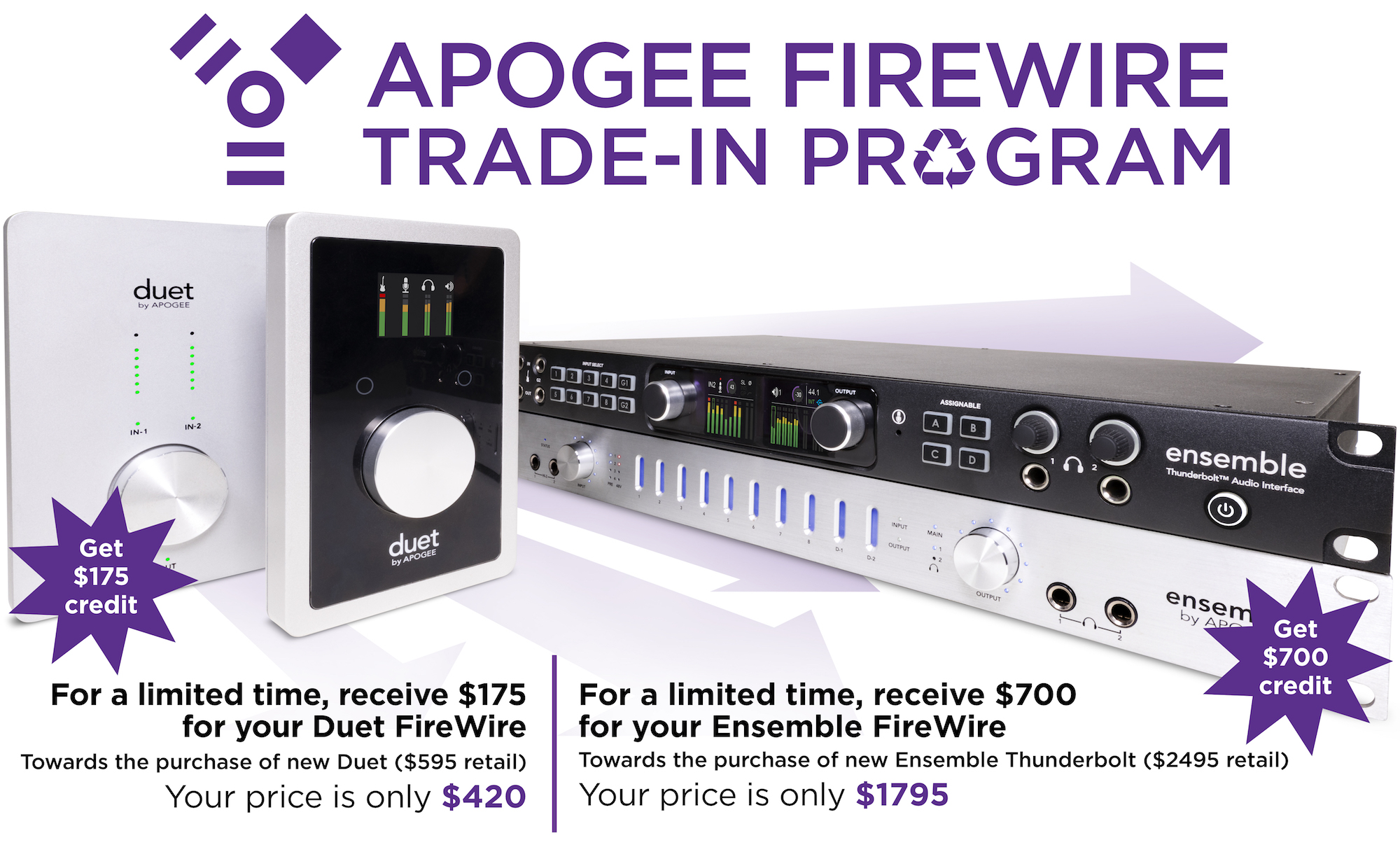 Apogee Duet and Ensemble FireWire Trade-in - Apogee Electronics