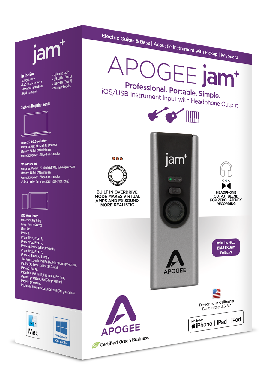 Jam Guitar Interface For Ipad Mac Apogee Electronics Samsung Headphone Cable Wiring Diagram